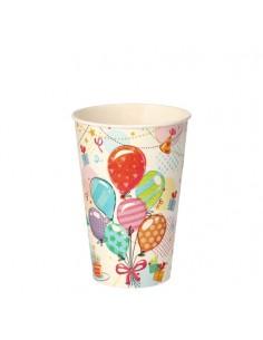 Vasos de cartón fiestas infantiles globos compostables 200ml