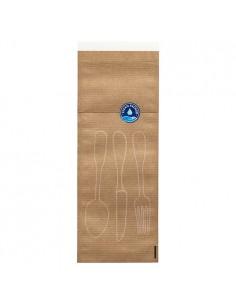 Pochettes à couverts papier kraft naturel avec fermeture hygiénique