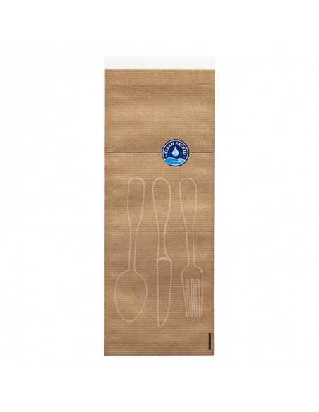 Fundas cubiertos papel kraft natural con cierre higiénicas 26x10cm