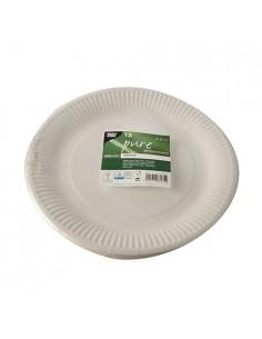Platos de cartón blanco fibra fresca redondos Ø 26 cm Pure