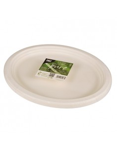 Bandejas caña azúcar blanco ovales compostables Pure 32 x 25,5 cm