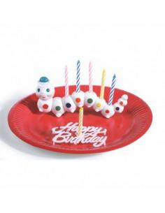 Posavelas de cumpleaños infantil gusanito de plástico