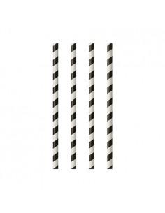 Cañitas de papel rayas negro blanco Pure Ø 6mm x 24cm