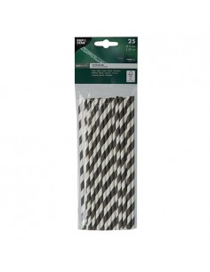 Cañitas de papel rayas blanco negro Ø 6mm x 20cm Stripes