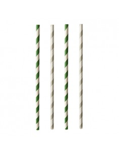 Cañitas rayadas de papel colores Pure 20 cm x Ø 6mm