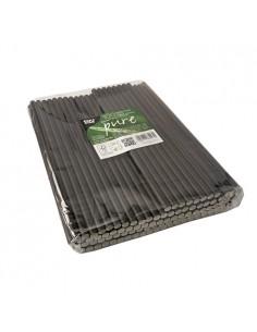 Cañitas rígidas de papel negras para batidos Pure Ø8 mm x 25cm