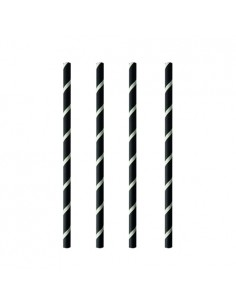 Cañitas para batidos papel negro blanco Pure Ø 8mm x 20cm