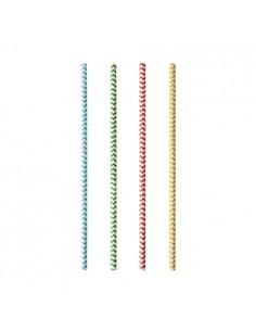 Cañitas de papel rayas en zig zag colores Ø 6mm x 20 cm Pure