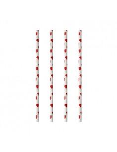 Cañitas de papel decoradas corazones rojo Ø 6mm x 20cm Pure