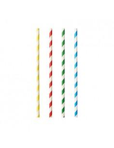 Cañitas para batidos papel rayas de colores Ø 8mm x 21cm Pure