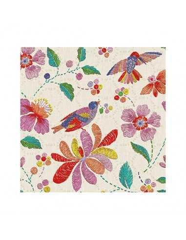 "Servilletas de papel decoradas para coctel colores ""Brasil"" 25 x 25cm"