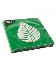 Servilletas de papel decoradas hoja color verde 33 x 33 cm Graphic Leaves