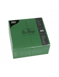 Servilletas de papel hostelería Buffet color verde oscuro 33 x 33 cm