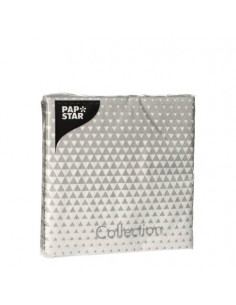 Servilletas de papel decoradas color gris plata 25 x 25 cm Optik
