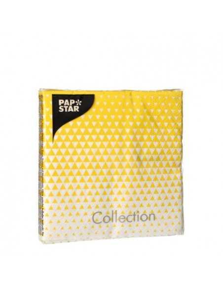 Servilletas de papel decoradas color amarillo 25 x 25 cm Optik