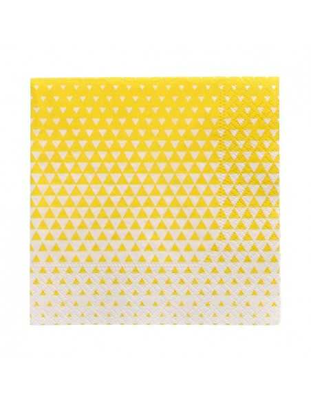 Servilletas de papel decoradas color amarillo 25 x 25 cm Optik