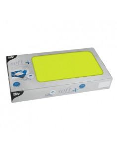 Manteles individuales papel verde lima aspecto tela Soft Selection Plus 80 x 80cm