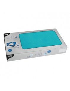 Manteles individuales papel azul turquesa aspecto tela Soft Selection Plus 80 x 80cm