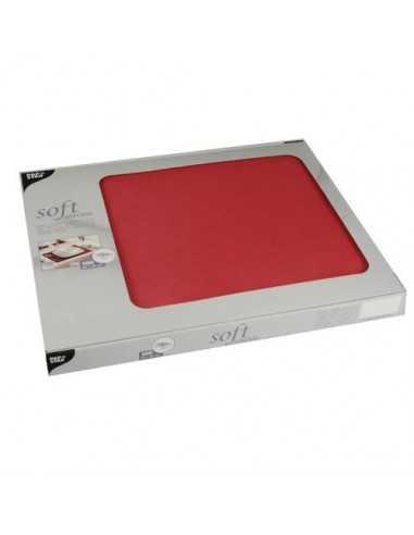 Mantelitos individuales papel aspecto tela rojo 30 x 40 cm Soft Selection