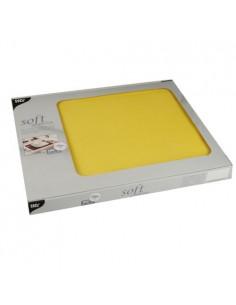 Mantelitos individuales papel aspecto tela amarillo 30 x 40 cm Soft Selection