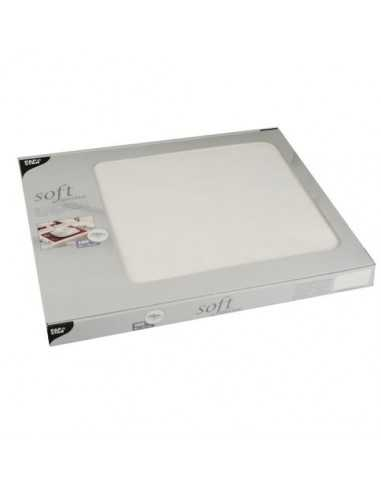 Mantelitos individuales papel aspecto tela blanco 30 x 40 cm Soft Selection