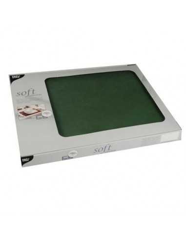 Mantelitos individuales papel aspecto tela verde oscuro 30 x 40 cm Soft Selection