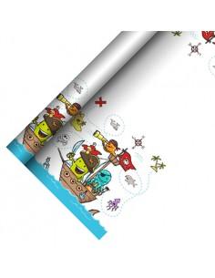 Mantel de papel fiesta infantil decorado piratas 5 x 1,2 m