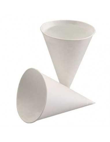 Vasos cónicos papel caña de azúcar blanco para dispensadores de agua 150 ml