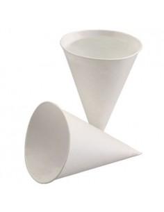 Vasos cónicos papel caña de azúcar blanco para dispensadores de agua 120 ml