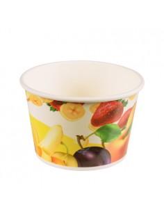 Tarrinas para helado cartón decorado motivo frutas 250ml