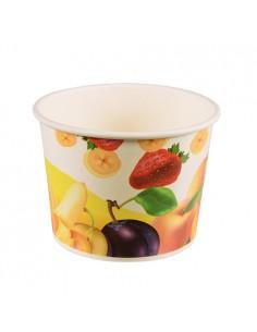 Tarrinas para helado cartón decorado motivo frutas 500ml