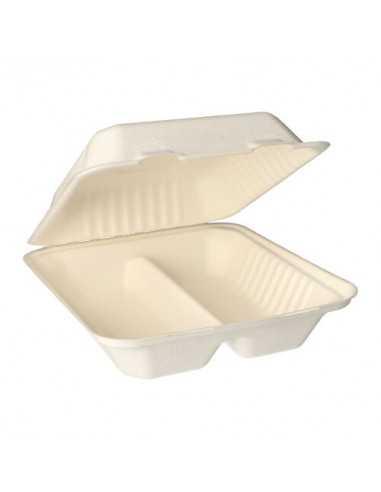 Envases menú compostables con tapa caña azúcar 2 compartimentos Pure