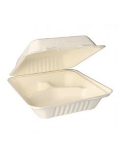 Envases comida compostables con tapa de caña azúcar 3 compartimentos Pure