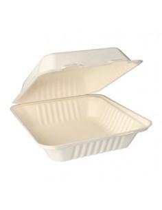 Envases comida compostables con tapa caña azúcar 750 ml Pure