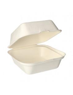 Caixas hambuger compostáveis cana de açúcar branco 14 x 15 x 8 cm
