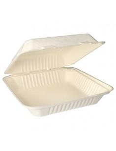 Envases comida para llevar con tapa compostables caña azúcar 1200ml