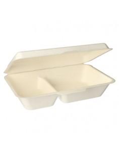 Boîtes menu à emporter canne sucre blanche compostable 2 compartiments 500 ml Pure