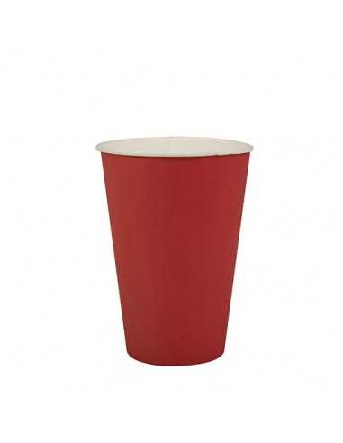 Vasos de cartón rojo para fiestas compostables 200ml