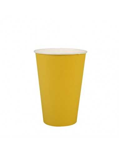 Vasos de cartón amarillo para fiestas compostables 200ml