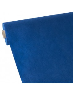 Mantel papel aspecto tela color azul oscuro rollo 40 x 0,9 m Soft Selection