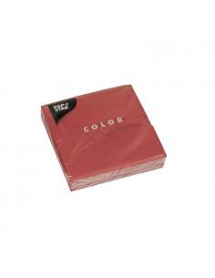 Servilletas de papel lisas color burdeos cóctel 24 x 24 cm
