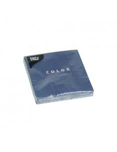 Servilletas de papel lisas color azul oscuro cóctel 24 x 24 cm