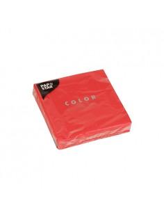 Servilletas de papel lisas color rojo cóctel 24 x 24 cm