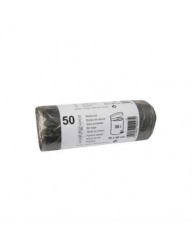 Bolsas de basura plástico color gris 30 litros HDPE 60 x 50 cm