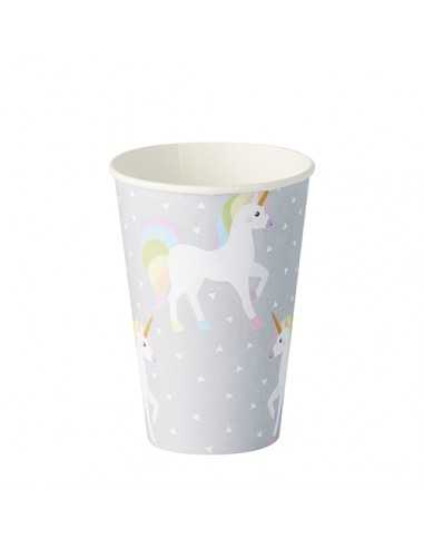 Vasos cartón decorado infantil unicornio 100% compostable 200ml