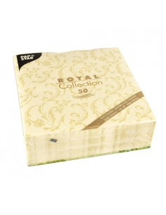 Servilletas de papel decoradas Royal Colection champan 40 x 40 cm Damascato