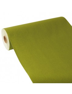 Camino de mesa papel aspecto tela verde oliva Royal Collection 24 m x 40 cm