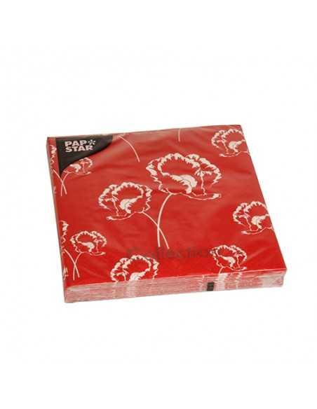 Servilletas de papel decoradas amapolas color rojo 33 x 33 cm