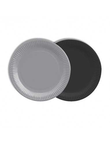 Platos cartón redondos color negro y gris 100% compostables Ø 18 cm