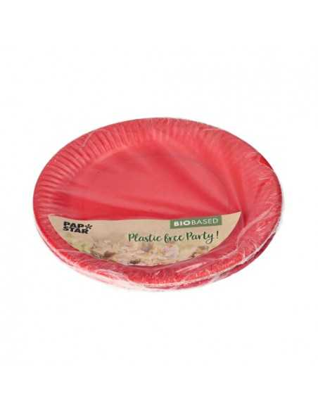 Platos cartón redondos color rojo y rosa 100% compostables Ø 18 cm